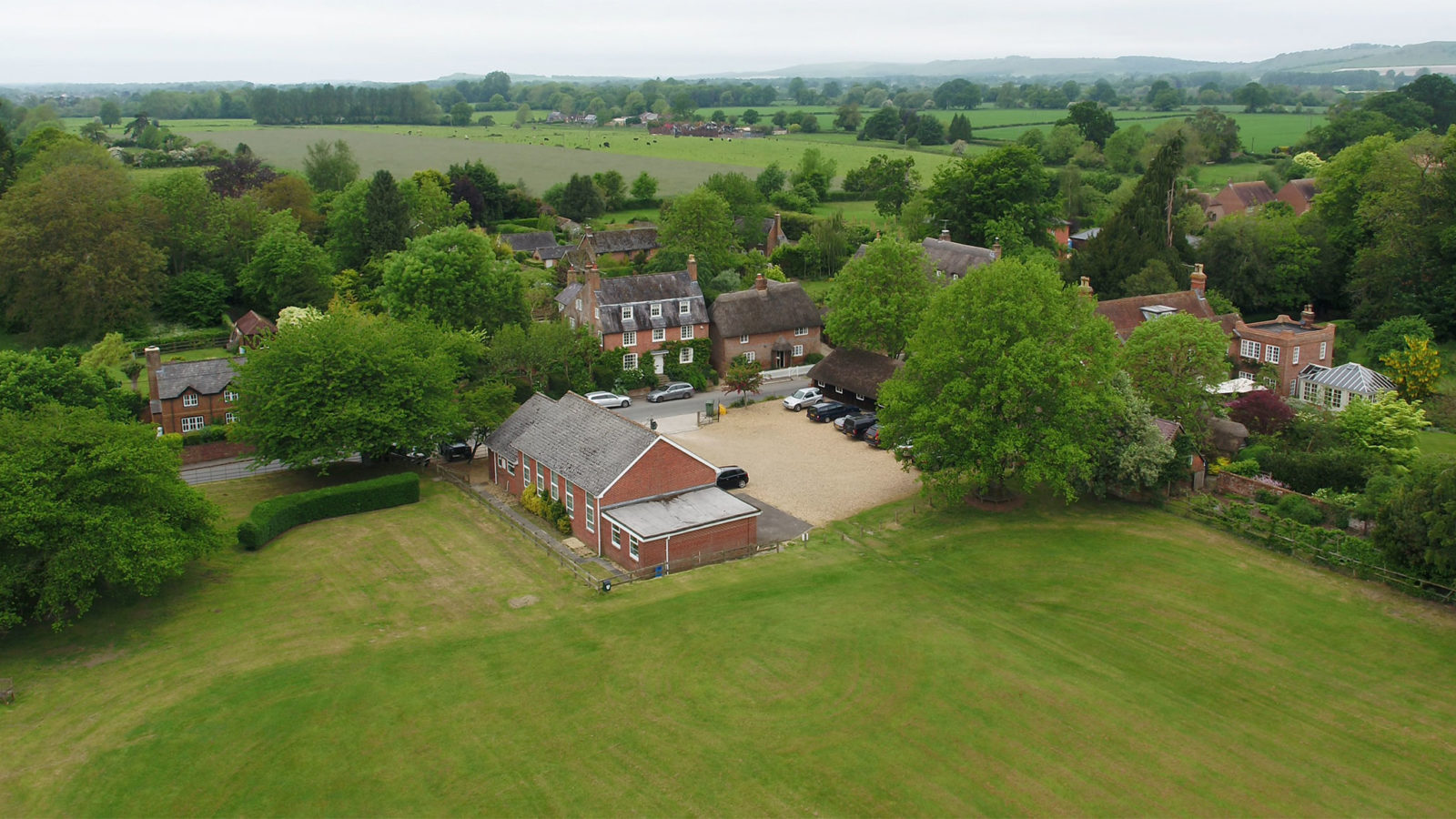 Aerial view of Milton Lilbourne Village Hall