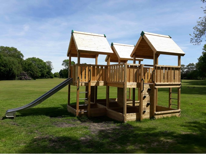 Climbing frame and slides